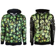 New Men Weed Jacket Heavy Weight Luxury Quality Fleece Leather Sweater All Sizes