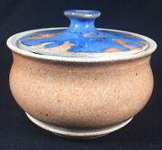 Hand Made Thrown Studio Pottery Art Two Tone Kitchen Storage Container Jar