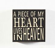 A Piece Of My Heart Lives In Heaven Wood Box Sign 5.75 Home Decoration