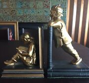 Ronson 1930s Bookends Of Chinese Children Atop Books