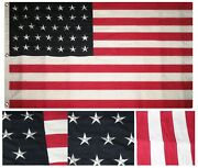 3x5 Embroidered Sewn American 34 Star Linear Synthetic Cotton Flag 3and039x5and039 3 Clips