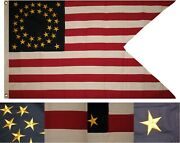 3x5 Embroidered Sewn Union Cavalry Guidon Synthetic Cotton Flag 3and039x5and039 2 Clips