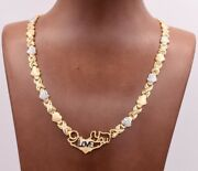 17 I Love You Kisses And Hearts Necklace 14k Gold Clad Silver 925 Xoxo Valentine