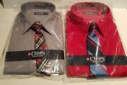 Boys Arrow Brand Pewter Or Red Long Sleeve Dress Shirt Clip Tie Set Size 8 18