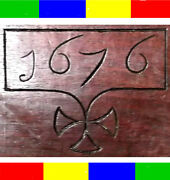 1676 Antique 17th C Carved Oak Holy Bible Box Book Chest Christian King James