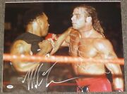 Mike Tyson And Shawn Michaels Signed 16x20 Photo Psa/dna Coa Wrestlemania 14 Auto