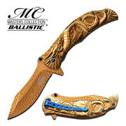8.25 Gold Dragon Spring Assisted Folding Knife Blade Pocket Open Switch