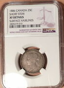 1886 Short Stem Q2 Canada 25c, Ngc Graded Xf Details Surface Hairlines
