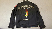 Vintage Embroidered Tour Jacket And039uss Outagamie County Lst-1073and039 Vietnam Bomber