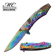 8.5 Rainbow Wolf Spring Assisted Folding Knife Blade Pocket Open Switch