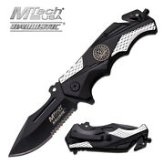 8.5 Silver Mtech Spring Assisted Folding Knife Blade Pocket Open Switch