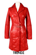 Kate Ladies Leather Coat Hip Length Smart Classic Genuine Leather Trench Coat