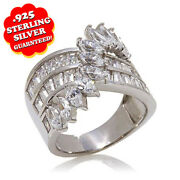 Hsn Victoria Wieck 3.29 Ct Simulated Marquise And Baguette Overlay Row Ring Sz 7