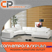 White Leather Sectional Sofa With Oversized Chaise - Contemporary Modern Design