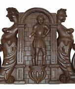 French Gothic 17thc Hand Carved Pediment Architectural Cornice Door Top Mermaid
