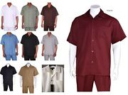Menand039s Summer 2-pc Walking Suit Short Sleeve Shirt And Pants Solid Color 2954