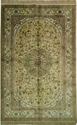 Silk Rug Hand-knotted 5and039 X 8and039 Antique Gold - Ivory New Decorative Look Rug