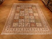 Hand-knotted Rug 6and039 X 9and039 Silk Multicolor - Ivory Garden Design Rug Luxury