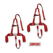 2 Yamaha Rhino Simpson 5 Point Y Harness Seat Belts Sewn In Harness 2x3 Red