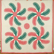 Well Quilted Vintage 30and039s Princess Feather Applique Four Block Antique Quilt