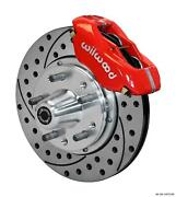 Wilwood 70-73 Mustang Front Disc Brake Kit 11 Drilled Rotor Red Caliper