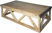 64 Long Coffee Table Solid Old Reclaimed Wood Rustic Industrial Metal Rectangle