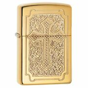 Zippo Armor Windproof Lighter With Deep Carved Cross Eccentric 29436 New In Box