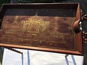 Exquisite Continental Carved Wood Marquetry Inlay Butler Table/tray-no Returns