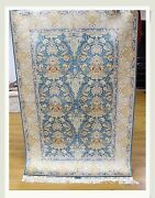 All-over Rug Living Room Handmade 4and039 X 6and039 Silk Light Blue-ivory