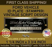 Ford Serial Number Plate Model A T Stamped Data Tag Vehicle Identification Usa