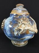 Handmade Studio Pottery Art Dragon Sculpture Glazed Decorative Pot Buck Run VTG