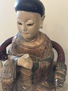 Large Antique Carved Gilt And Polychrome Statue Of Chinese Or Asian Empress