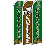 3 Pack Set Hot Coffee 1 Swooper Super Advertising Windless Banner Flag