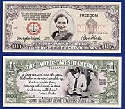 1-rosa Parks - Black History Civil Rights Dollar Bill W/clear Protector Sleeve