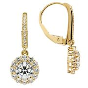 14k Solid Yellow Gold Leverback Earrings Round Halo Cz Drop Dangle 2.0 Ctw