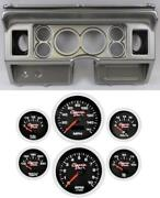 80-86 Ford Truck Silver Dash Carrier W/ 3-3/8 Concourse Series Black Gauges