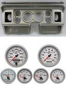 80-86 Ford Truck Silver Dash Carrier W/ Auto Meter 3-3/8 Ultra-lite Ii Gauges