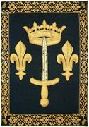 Sword And Crown With Fleur De Lys Lined Belgian Tapestry With Rod Sleeve 1172