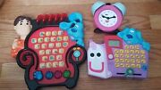 3 Used Blueand039s Clues Talking Toys Press Guess Mailbox Tickety Clock Lot Steve Paw