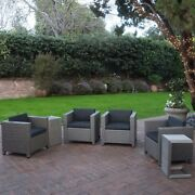 Eden Outdoor 4 Piece Wicker Club Chairs W/ Cushions And Aluminum C-shaped Tables