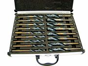 17pc Large Size Drill Bit Set Industrial Steel Black And Gold Silver And Deming