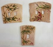 Lot Of 3 Ceramic Light Switch Covers Asian Oriental Tropical Theme