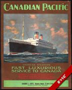 Vintage Canadian Pacific Empress Steamers Ship Poster Painting Art Canvas Print