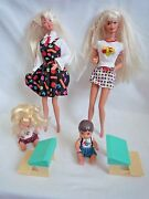 2 Vintage Barbie Dolls And Kelly And Tommy Toddler Dolls With School Desks
