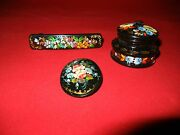Black Russian Lacquer Handpainted Floral Accents Lot Brooch Barrette Box