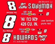8 Dave Whitcomb Howards Photo Lab Dodge 1969-74 1/64th Ho Scale Slot Car Decals
