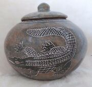 """Brazil Hand Etched Pottery Jar with Lid - 6.5"""" South American Native Folk Art"""