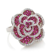 Ruby Cluster Flower Engagement Ring 14k White Gold Over Sterling Silver 925