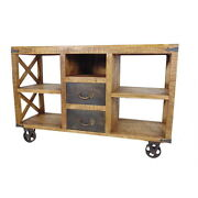 56 W Ashley Cabinet 2 Drawer Solid Mango Wood Light Brown Iron Inserts Casters