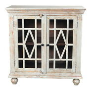 40 W Sophia Cabinet 2 Glass Door In White Antiqued Finish Distressed Paint